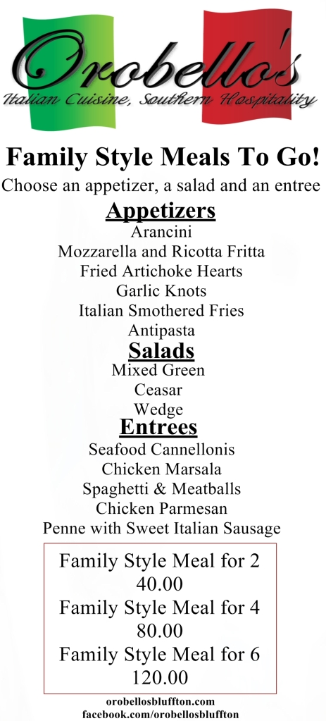 family style meals to go food delivery bluffton south carolina